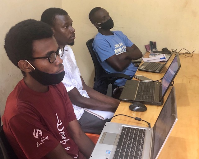 Programmer students learning code